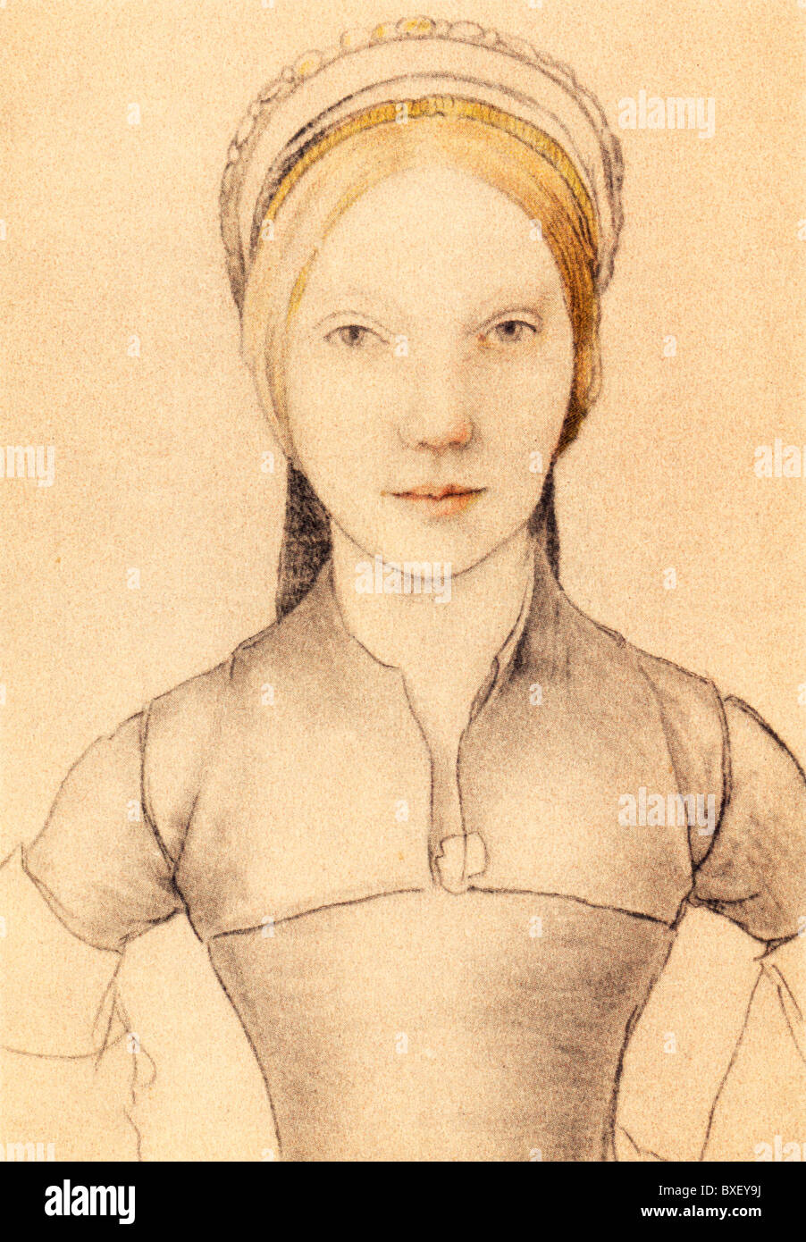 Sketch by Hans Holbein the Younger; Portrait of Jane Boleyn, Lady Parker, sister in law to Anne Boleyn; Colour Illustration; - Stock Image