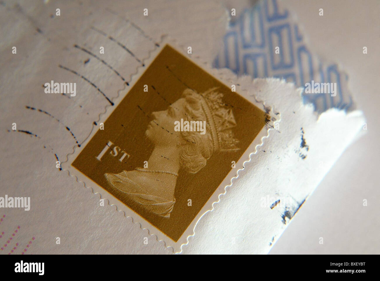 Queen Elizabeth II head on British Postal Stamps. - Stock Image