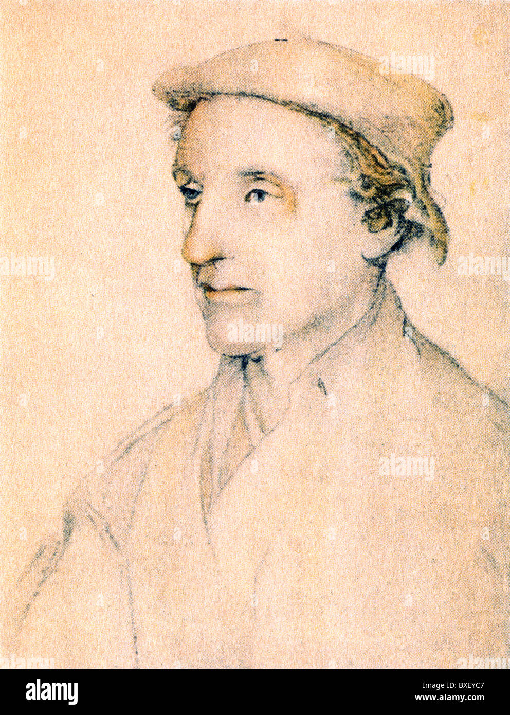 Sketch by Hans Holbein the Younger; Portrait of an Unknown Man; Colour Illustration; - Stock Image