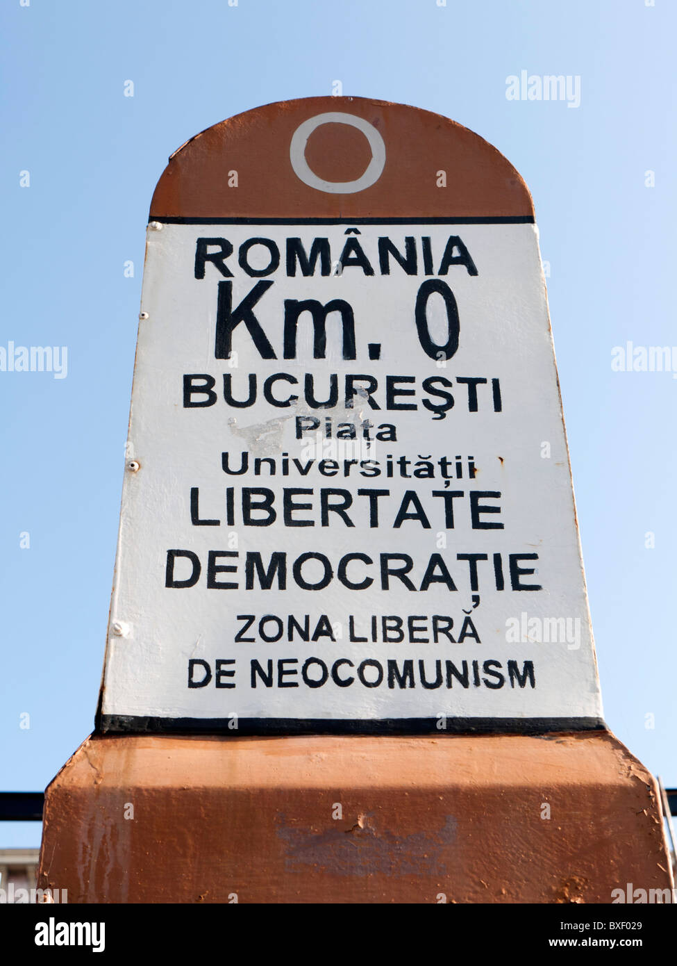 Signpost from which all distances are measured in Romania in University Square Bucharest - Stock Image