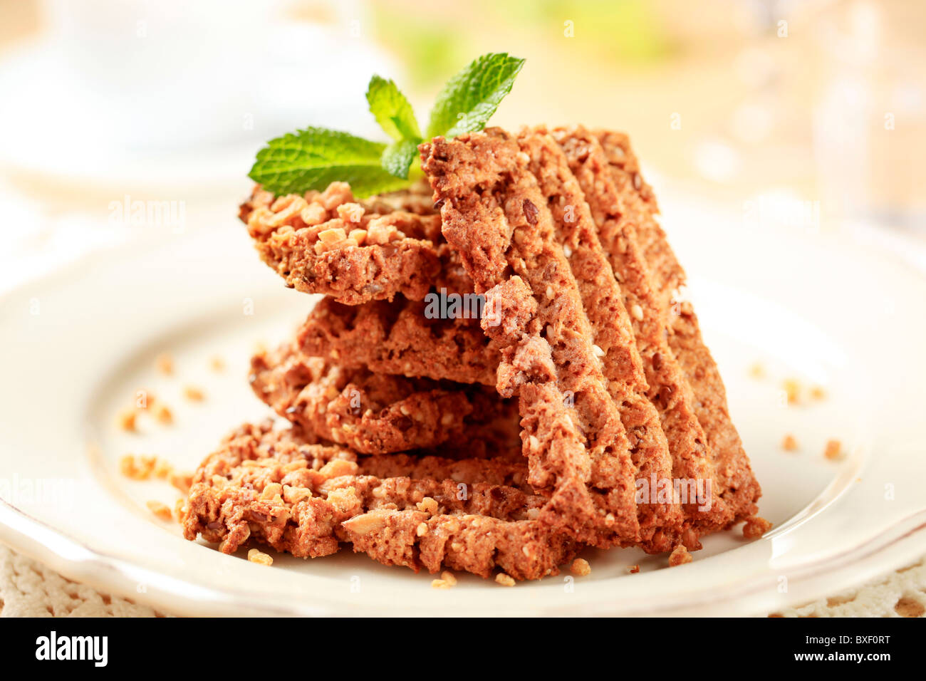 Stack of wholegrain nutty cookies - Stock Image