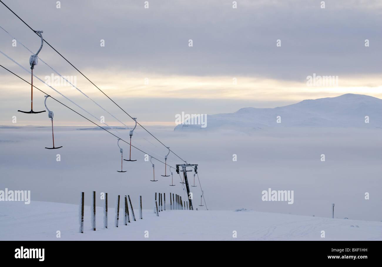 The empty ski-lift in Kittelfjäll, Swedish Lapland. - Stock Image
