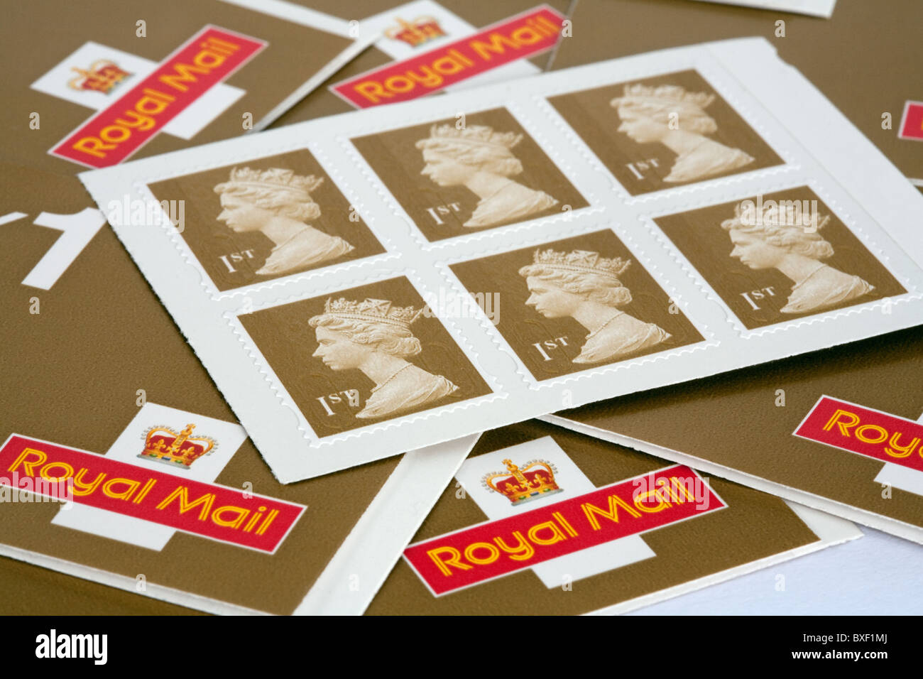 UK Royal Mail First class stamp booklets - Stock Image