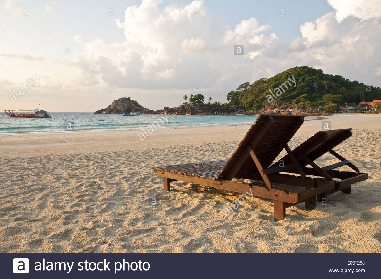 Beach with sun loungers in the morning, Pulau Redang island, Malaysia, Southeast Asia, Asia Stock Photo
