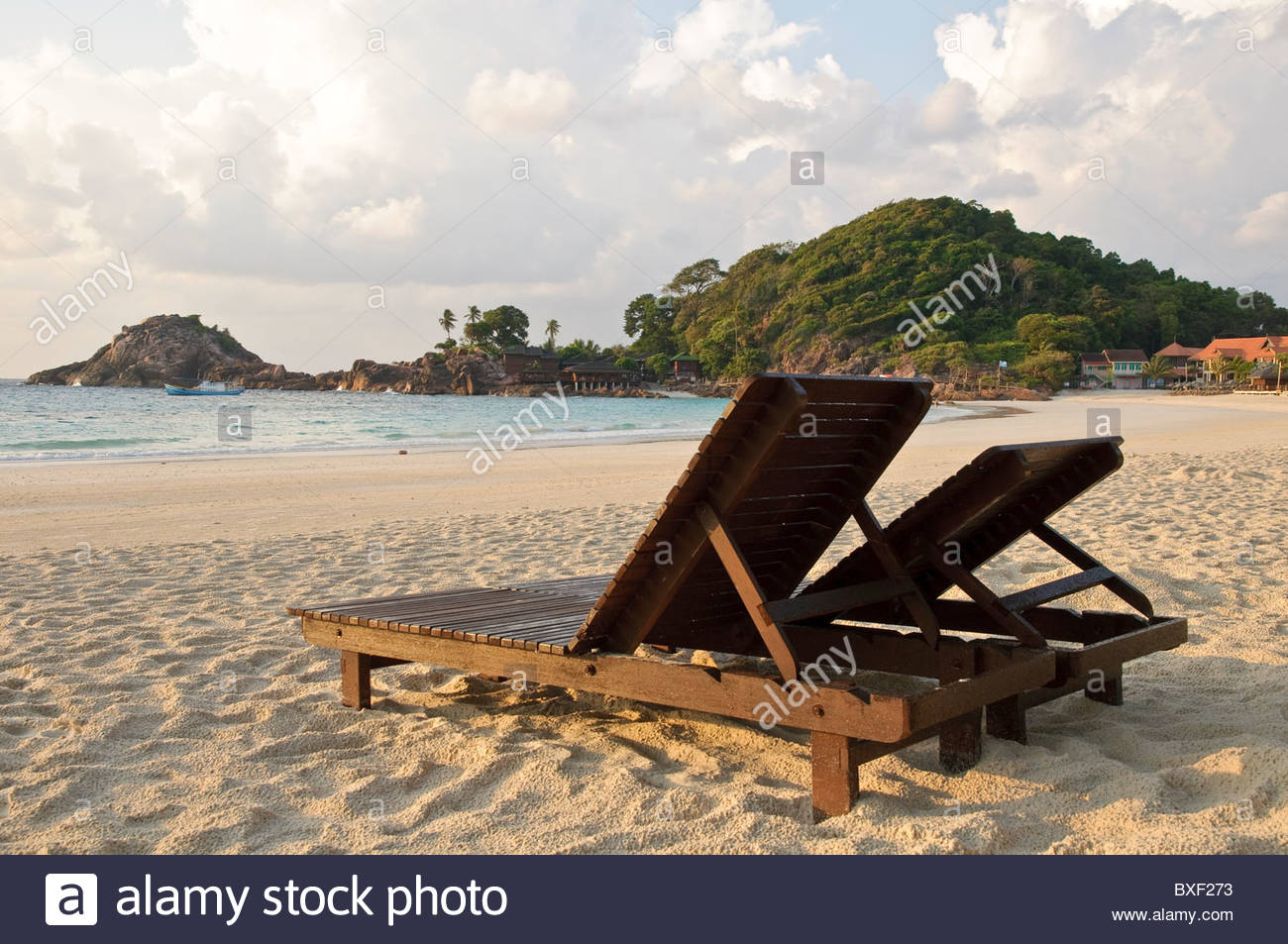 Beach with sun loungers in the morning, Pulau Redang island, Malaysia, Southeast Asia, Asia - Stock Image