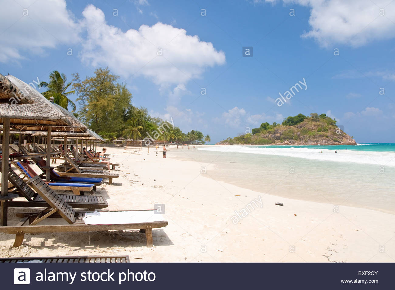 Beach with deck chairs, Pulau Redang island, Malaysia, Southeast Asia, Asia Stock Photo