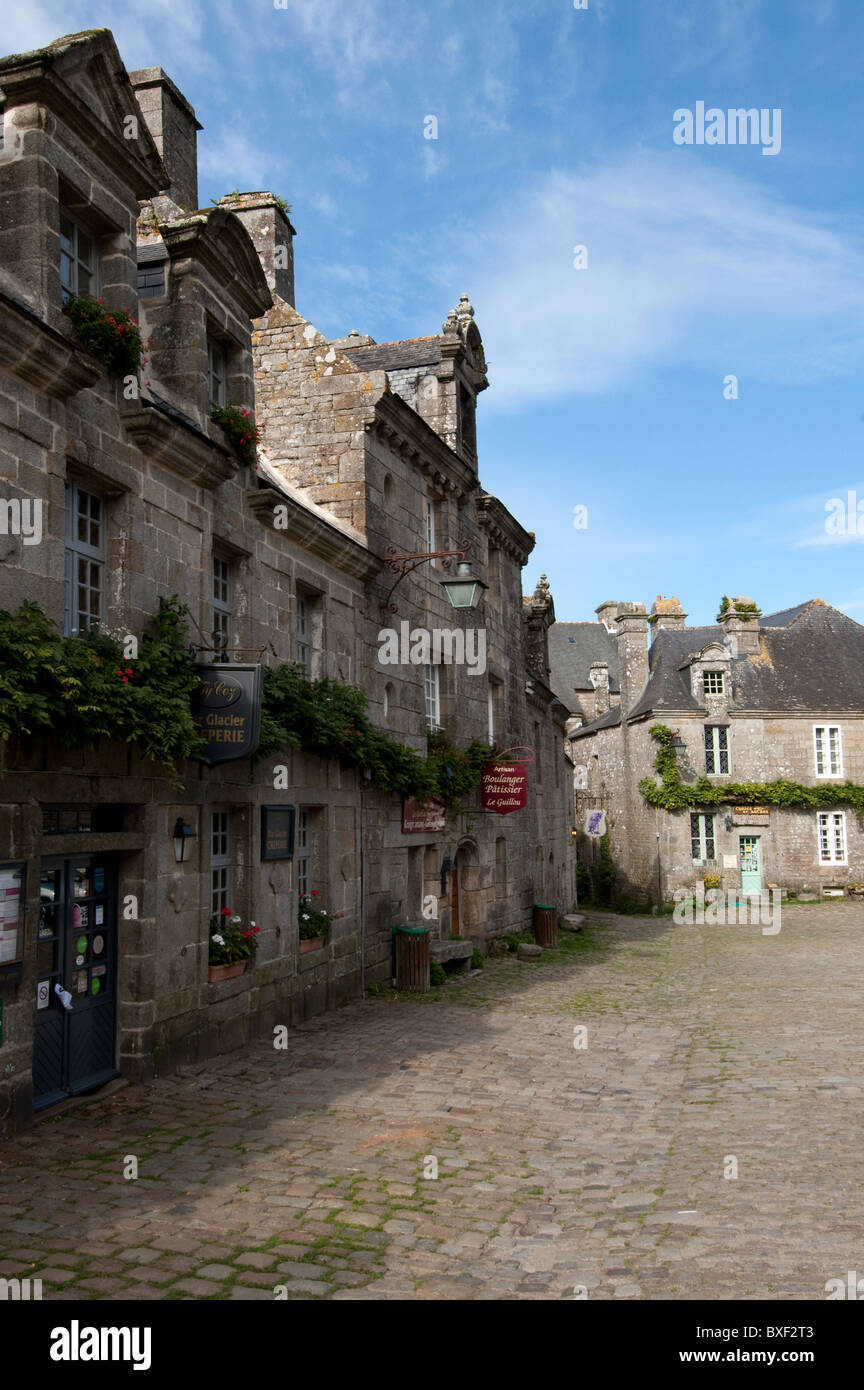 Historic and medieval centre of Locronan  Brittany, France - Stock Image