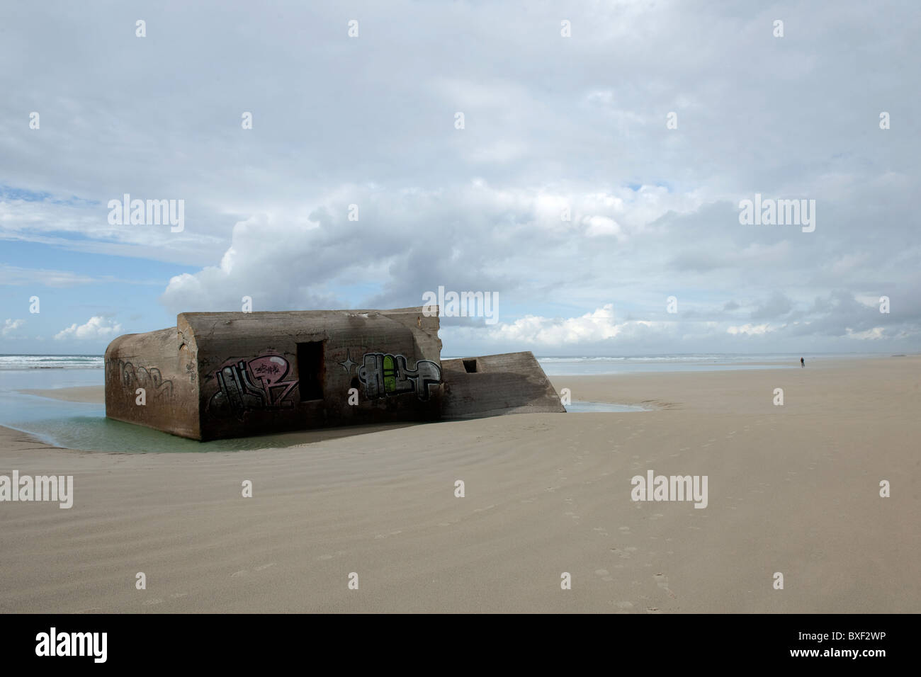 bunker plage audierne near plomeur, brittany france - Stock Image