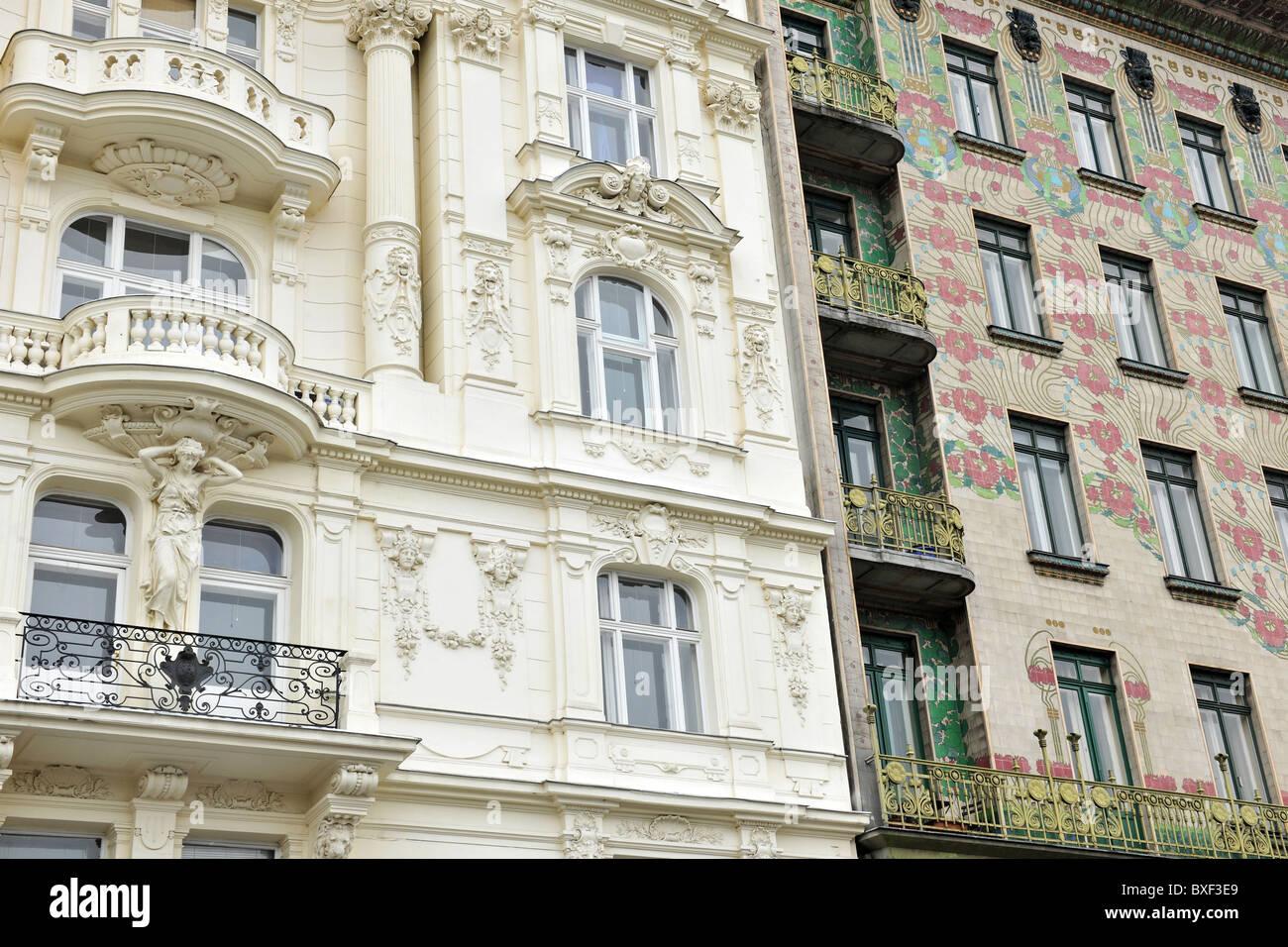 Vienna Austria Majolikahaus Apartment Building Facade 1899 Right