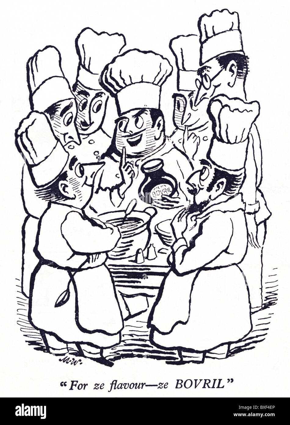 1946 advertisement for Bovril featuring French chefs - Stock Image