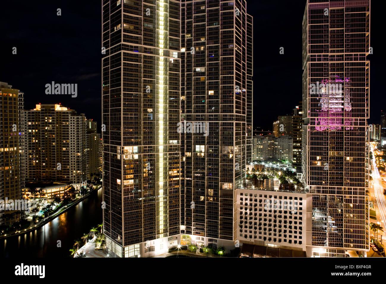 Nighttime, Downtown Miami - Stock Image