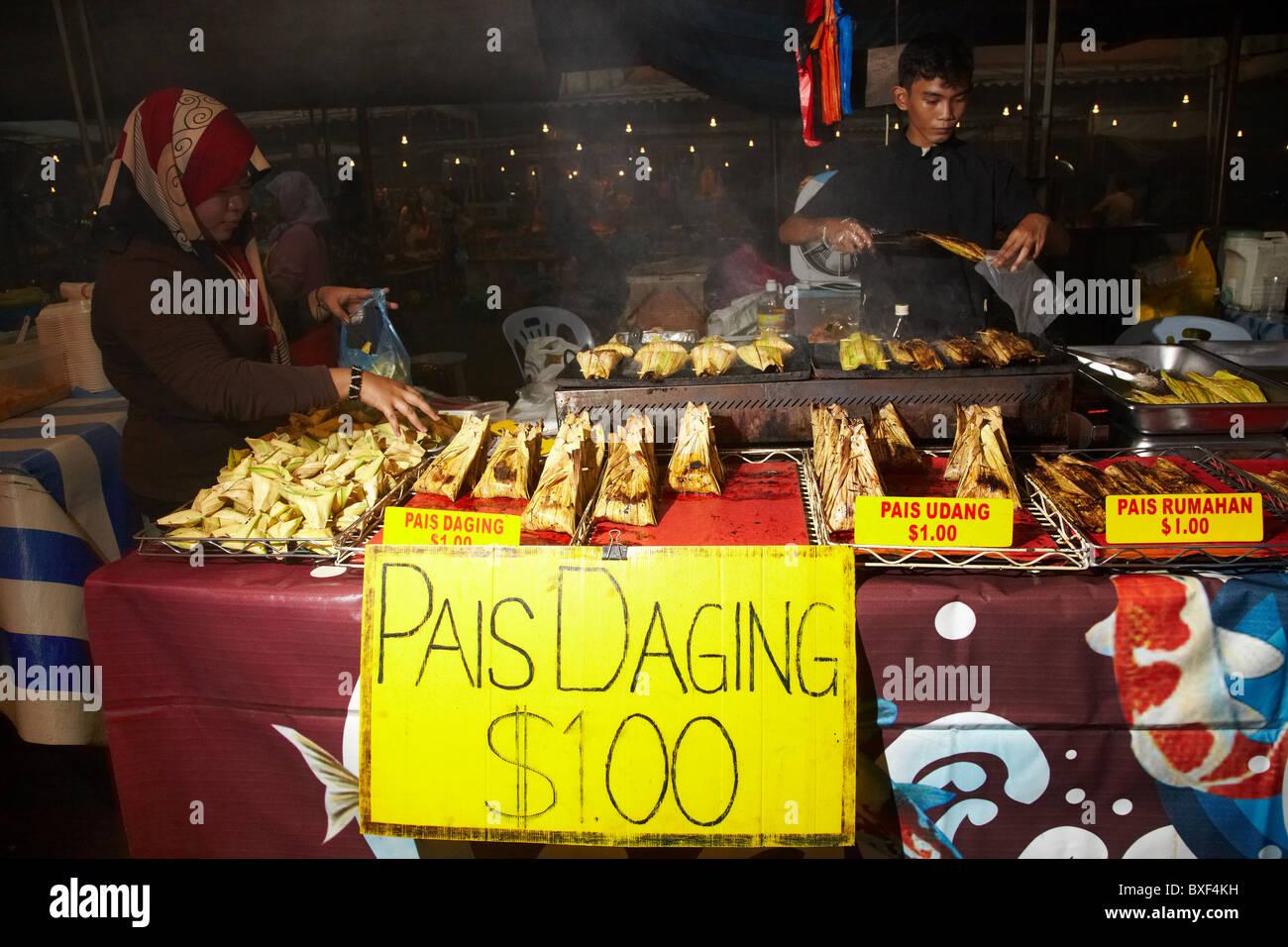 Food Stalls at Pasar Gadong in Bandar Seri Begawan, Brunei Darussalam, Asia - Stock Image