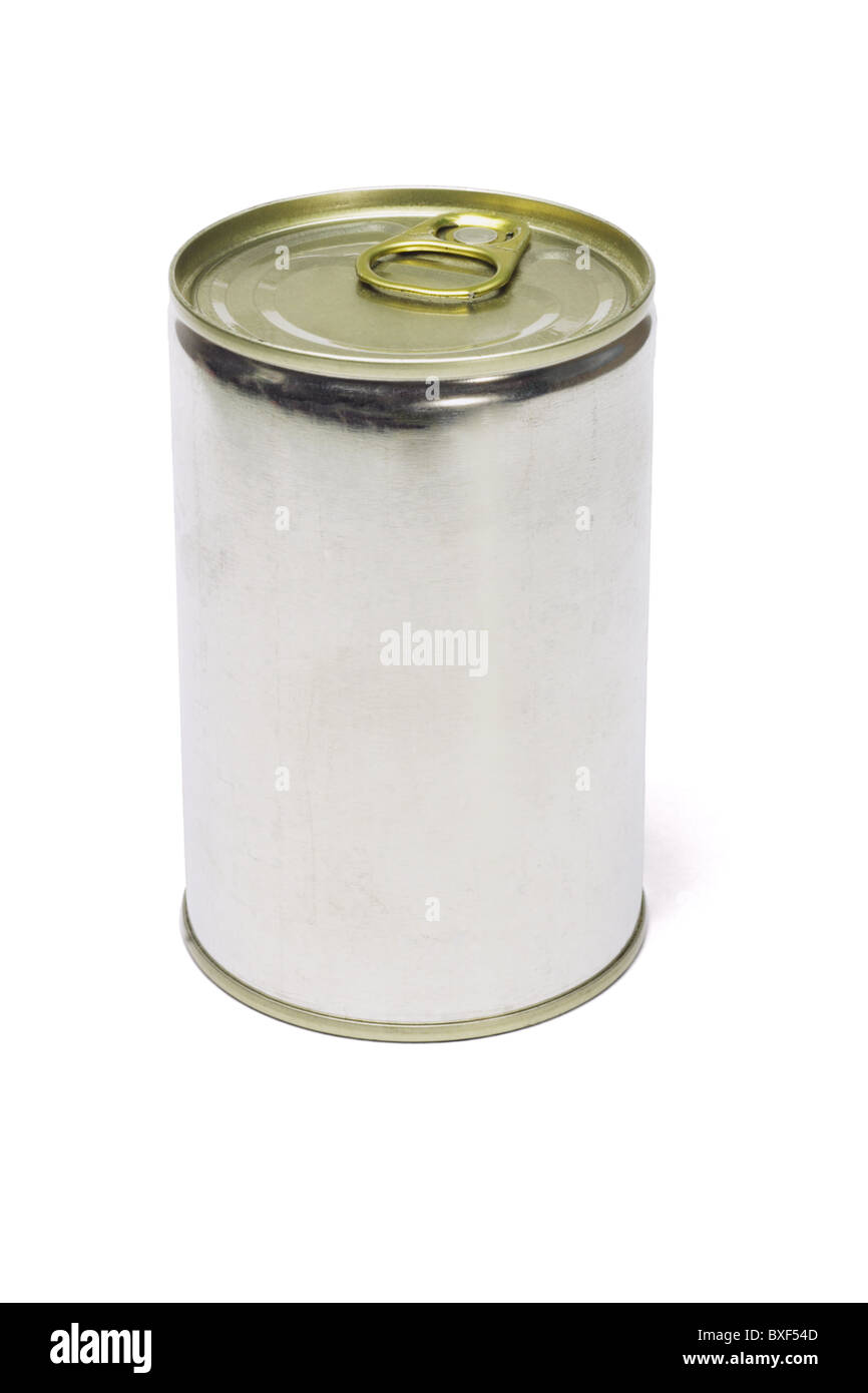 Tin can with ring pull top on white background - Stock Image
