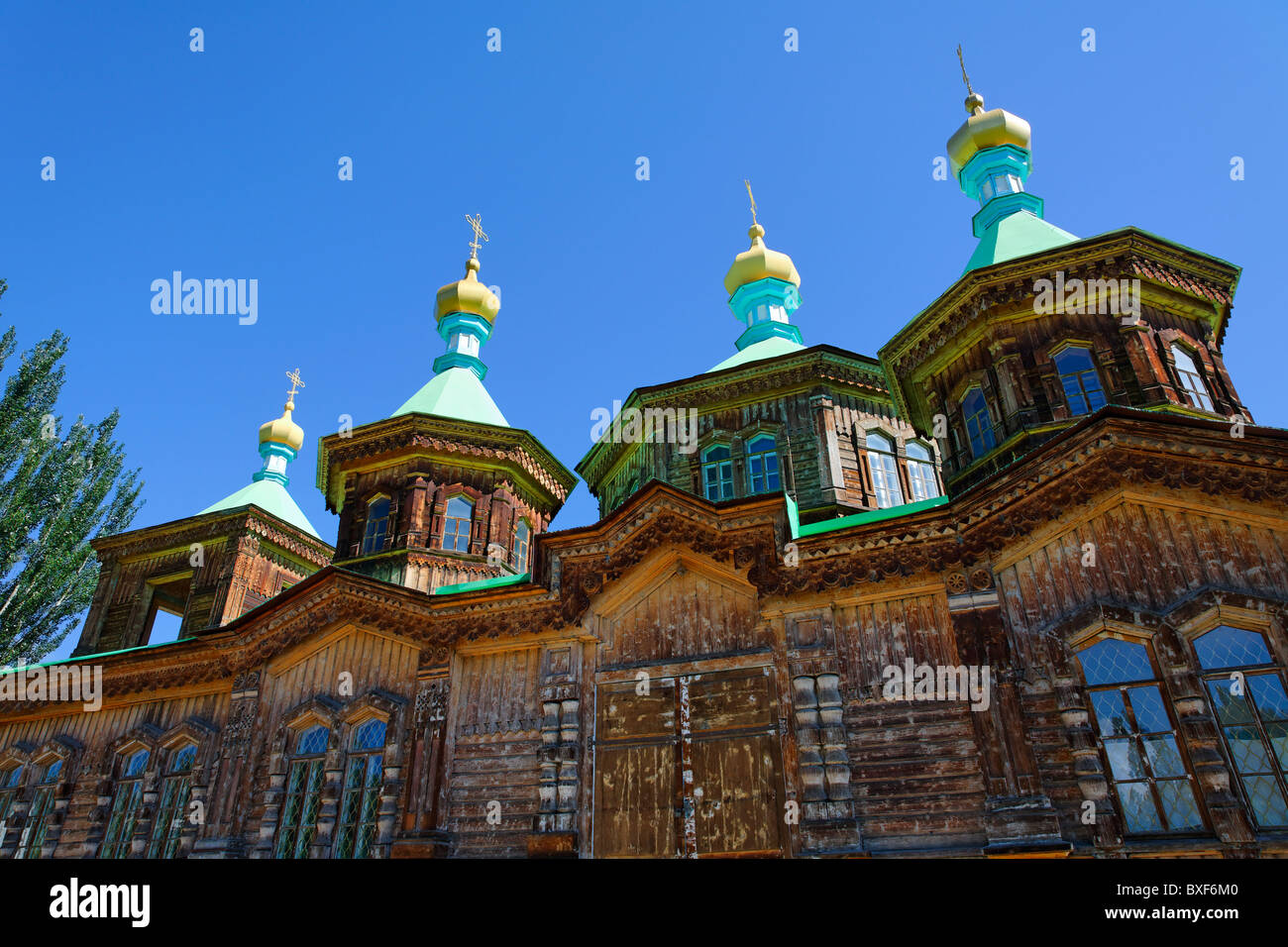 Kyrgyzstan - Karakol - the Russian Orthodox Holy Trinity Cathedral Stock Photo
