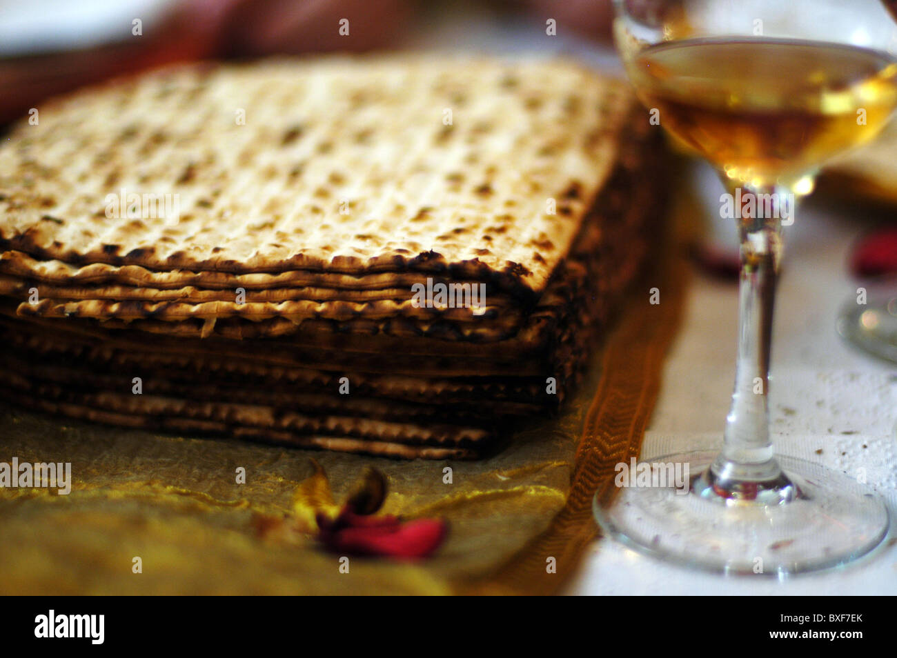 Matsah and white wine on a table for the Jewish holiday Passover festival in Israel. - Stock Image
