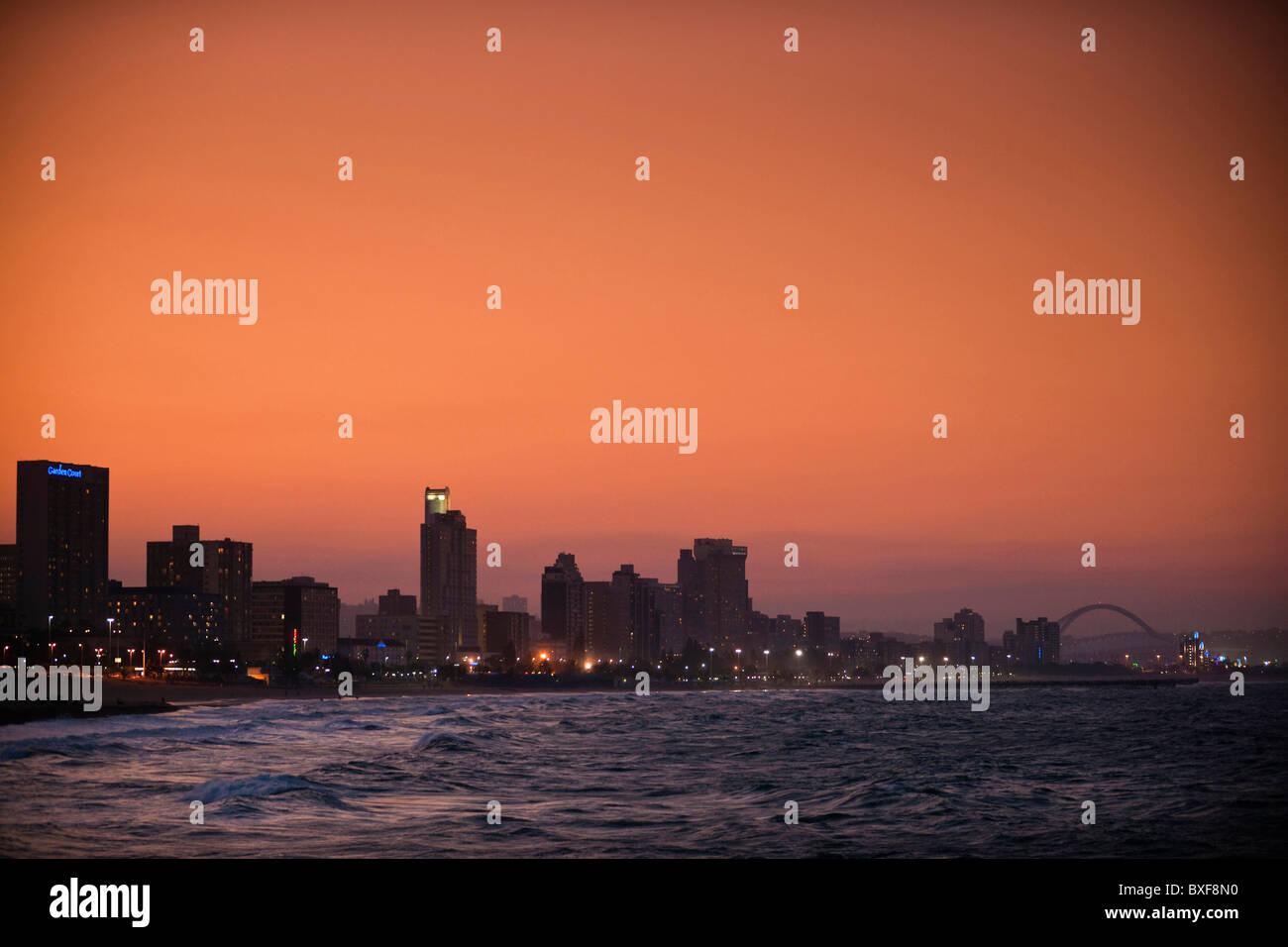 View of Durban skyline from the Point Development. Durban. KwaZulu Natal, Suedafrika. - Stock Image
