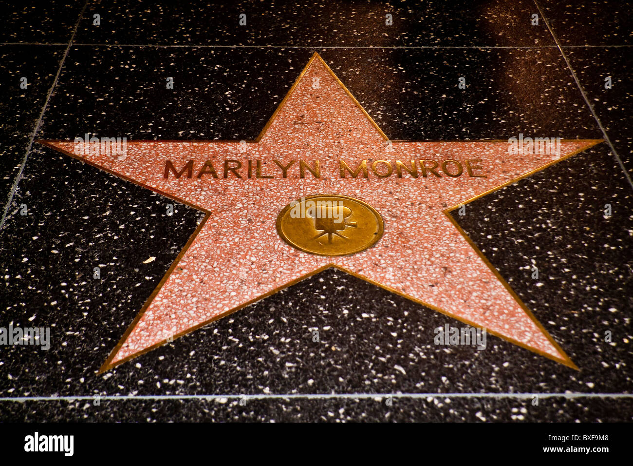 Hollywood Walk of Fame Star of Marilyn Monroe - Stock Image