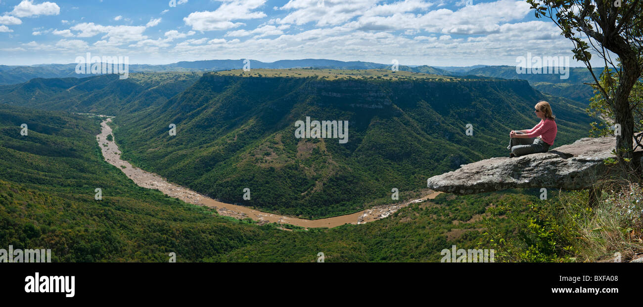 Leopard Rock overhanging the spectacular Umzimkulu River Valley in Oribi Gorge. KwaZulu Natal. South Africa. - Stock Image