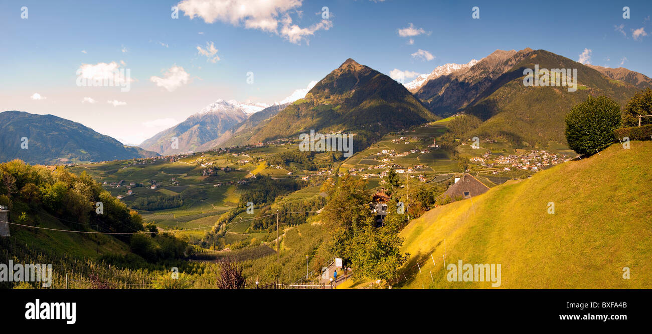 Valley view from the town of Scena, Trentino Alto Adige, Italy - Stock Image