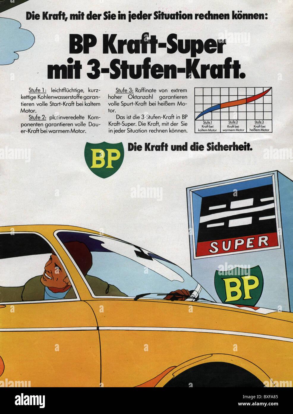 advertising, transport / transportation, advert for BP petrol, from