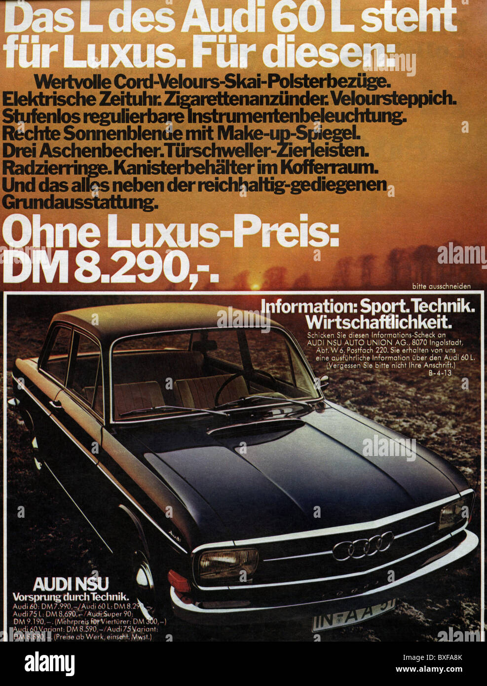 advertising, automobiles, Audi 60 L, advert in a magazine, Germany ...