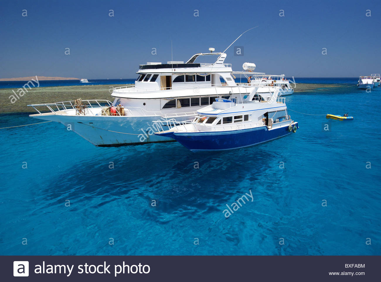 Dive boats at Sharm el Sheikh - Egypt - Red Sea (names removed) - Stock Image