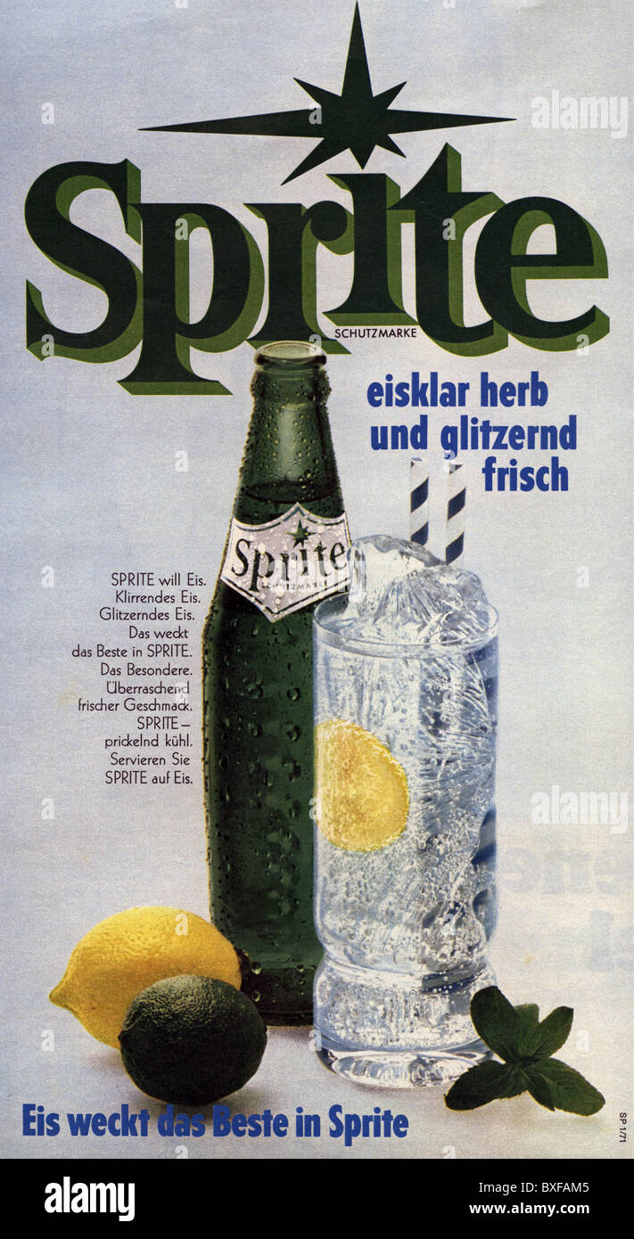 advertising, beverages, Coca Cola, advert for Sprite lemonade, from the magazine 'Quick', No. 11, 10.3.1971, - Stock Image