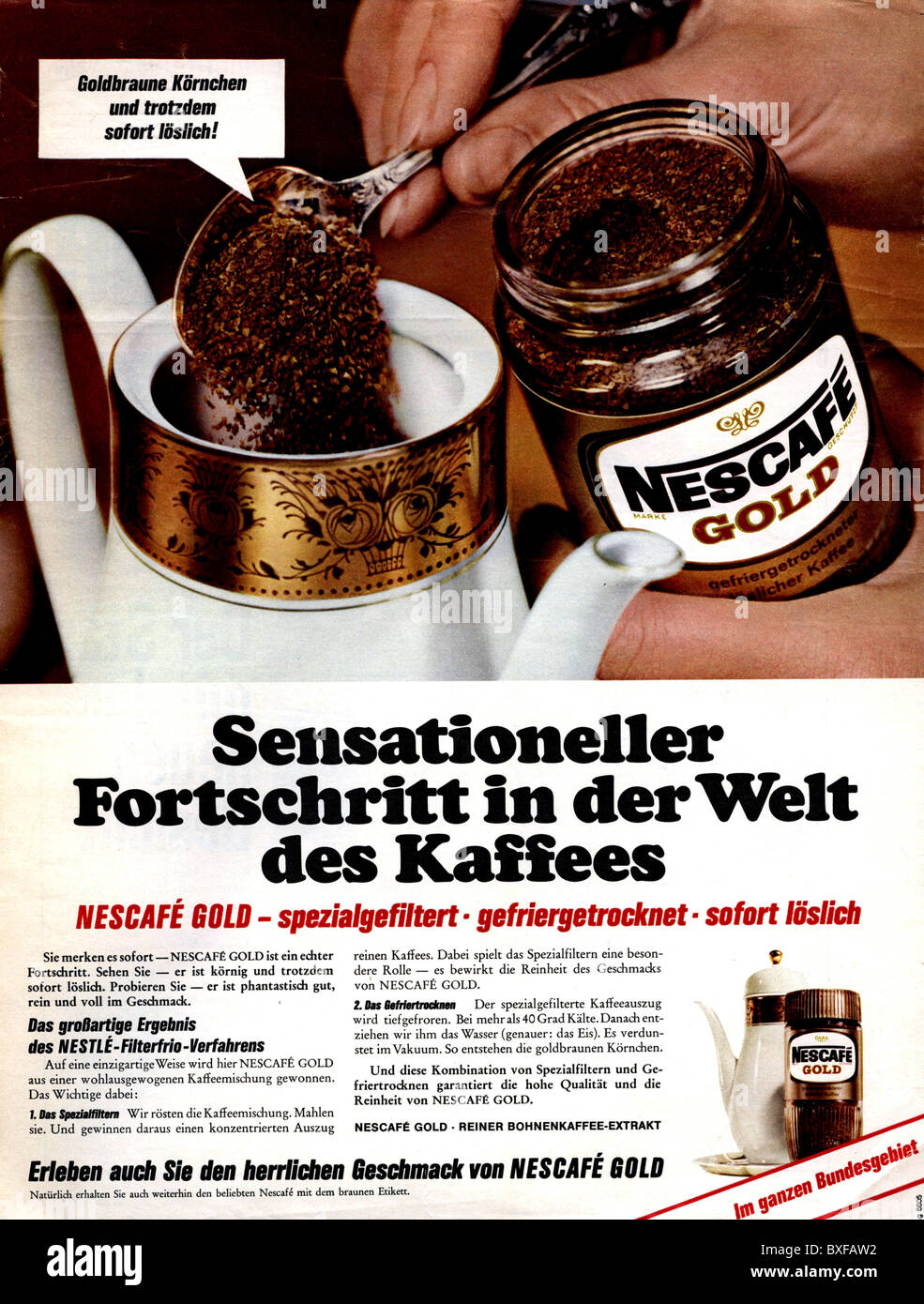 advertising, beverages, coffee, advert for Nescafe Gold instant coffee, from the magazine 'Stern', Germany, - Stock Image