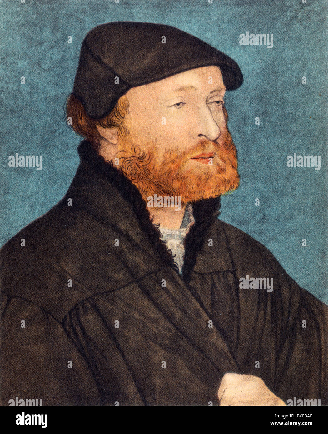 Self Portrait by Hans Holbein the Younger when he was about 40 years of age; Colour Illustration; - Stock Image