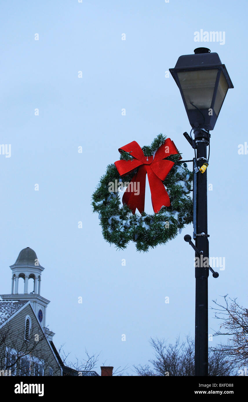 christmas wreath on small town lighting pole stock image