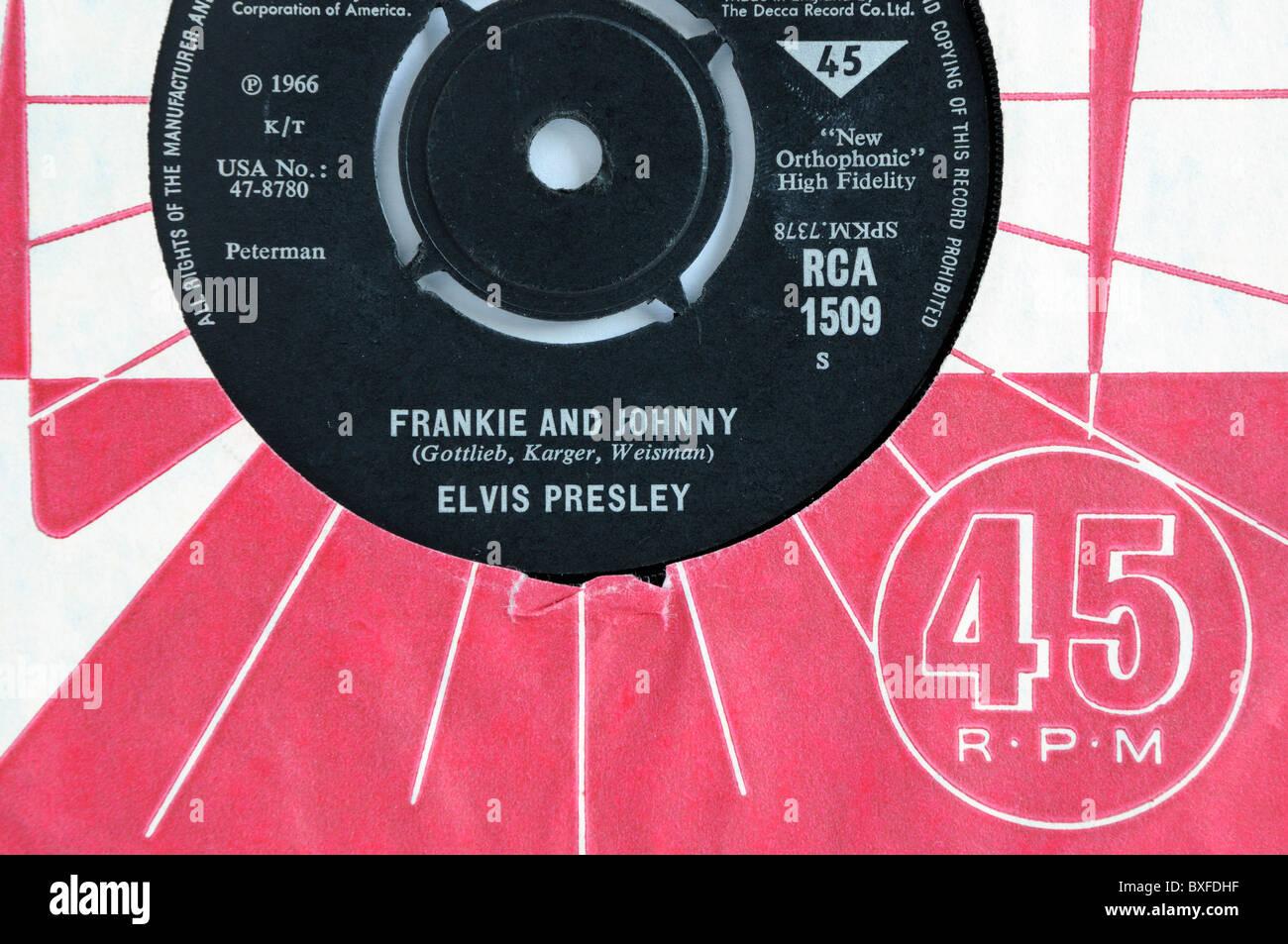 "Elvis Presley's 1966 record ""Frankie and Johnny"". Stock Photo"
