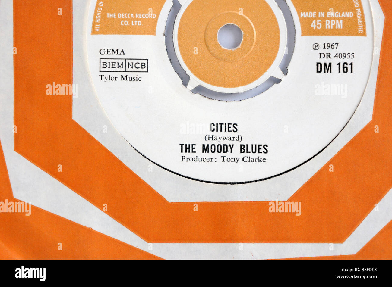 The Moody Blues 1967 single 'Cities' - Stock Image