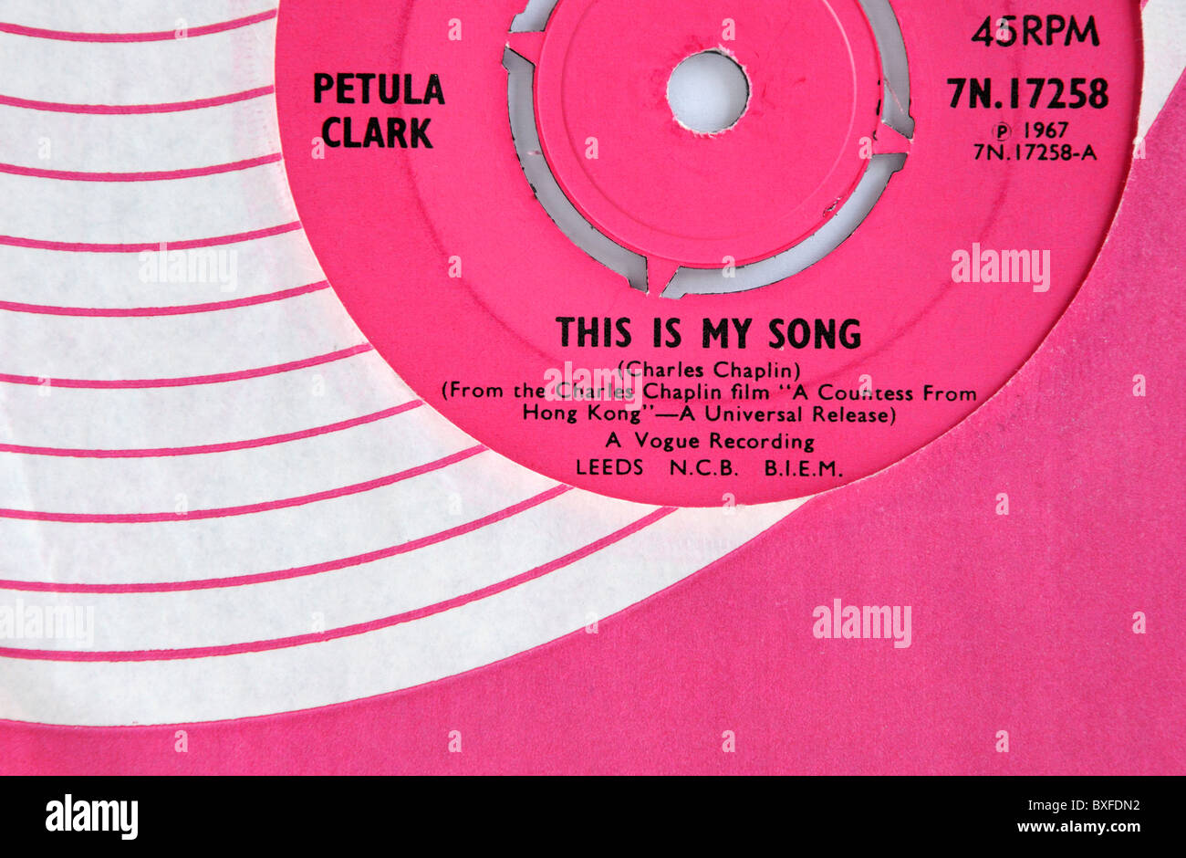 Petula Clark's 1967 single 'This is my Song' - Stock Image