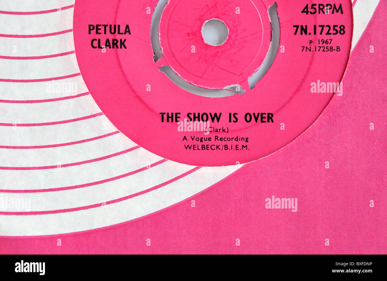 Petula Clark's 1967 single 'The Show is Over' - Stock Image