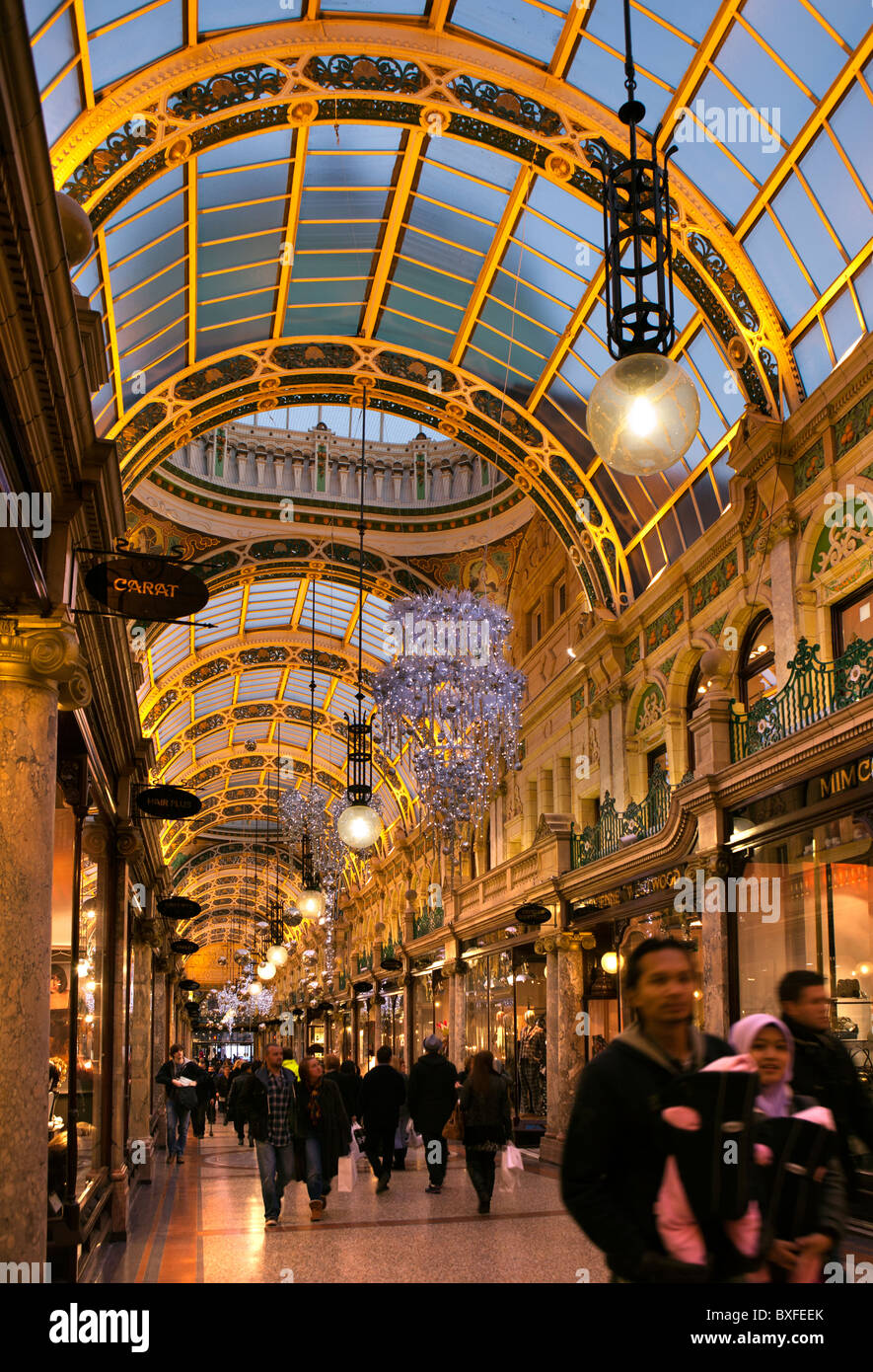 UK, England, Yorkshire, Leeds, Victoria Quarter, County Arcade decorated at Christmas - Stock Image