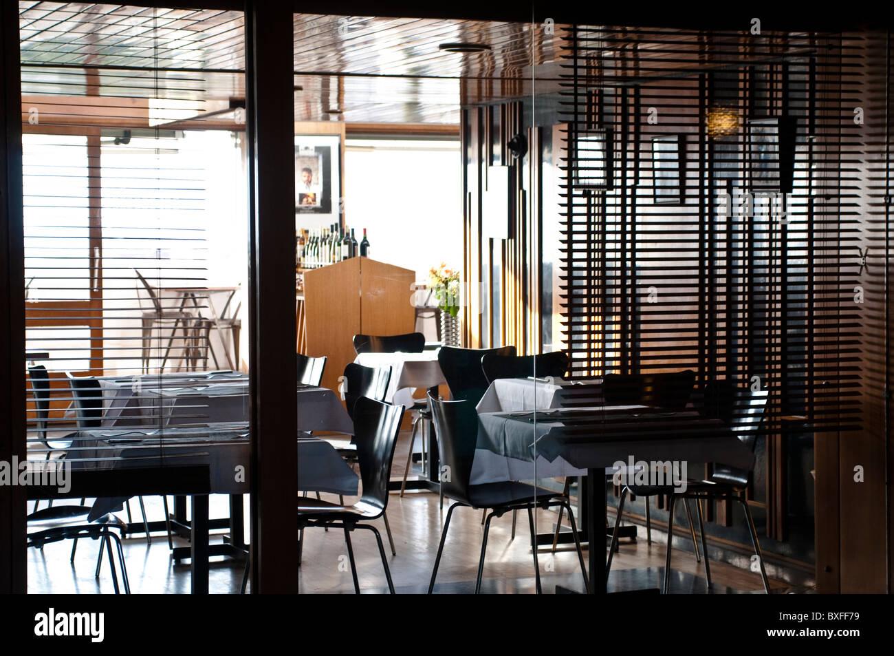 Restaurant, Unite d'Habitation by Le Corbusier, Marseille, France - Stock Image