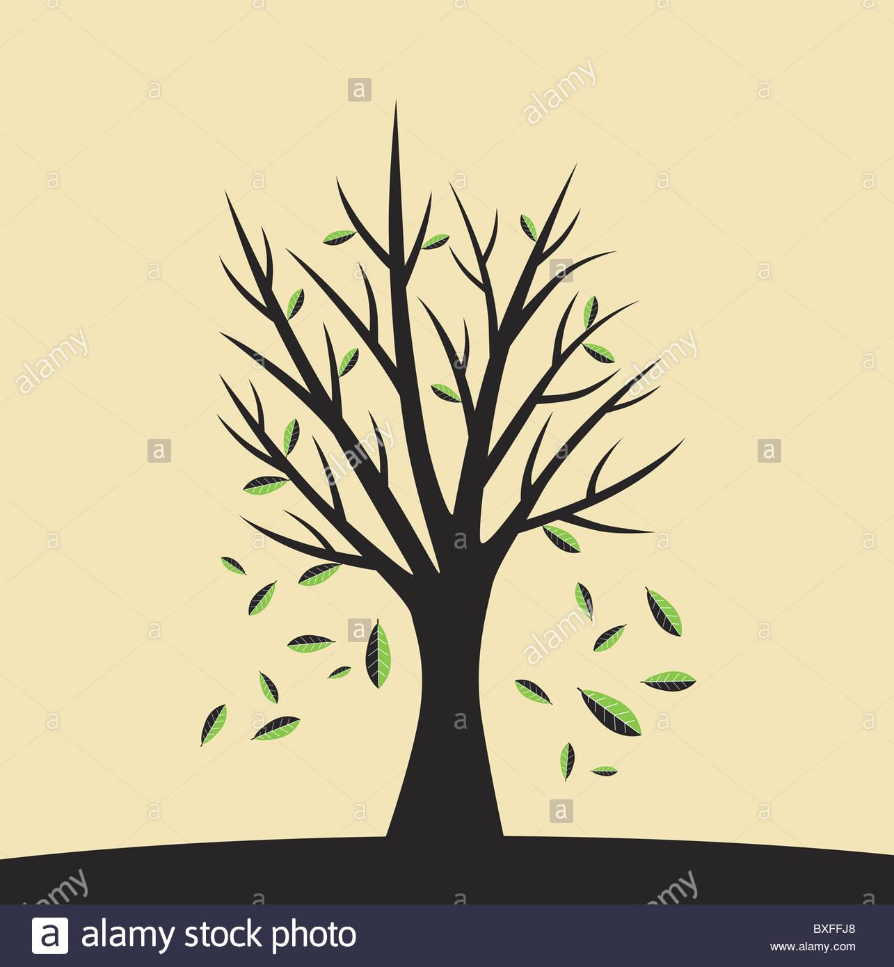 Falling leaves illustration - Stock Image