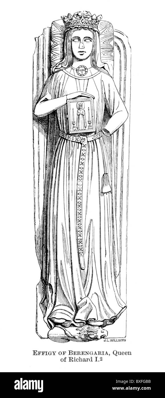 The Effigy of Queen Berengaria, wife of King Richard I of England, 12th century; Black and White Illustration; - Stock Image