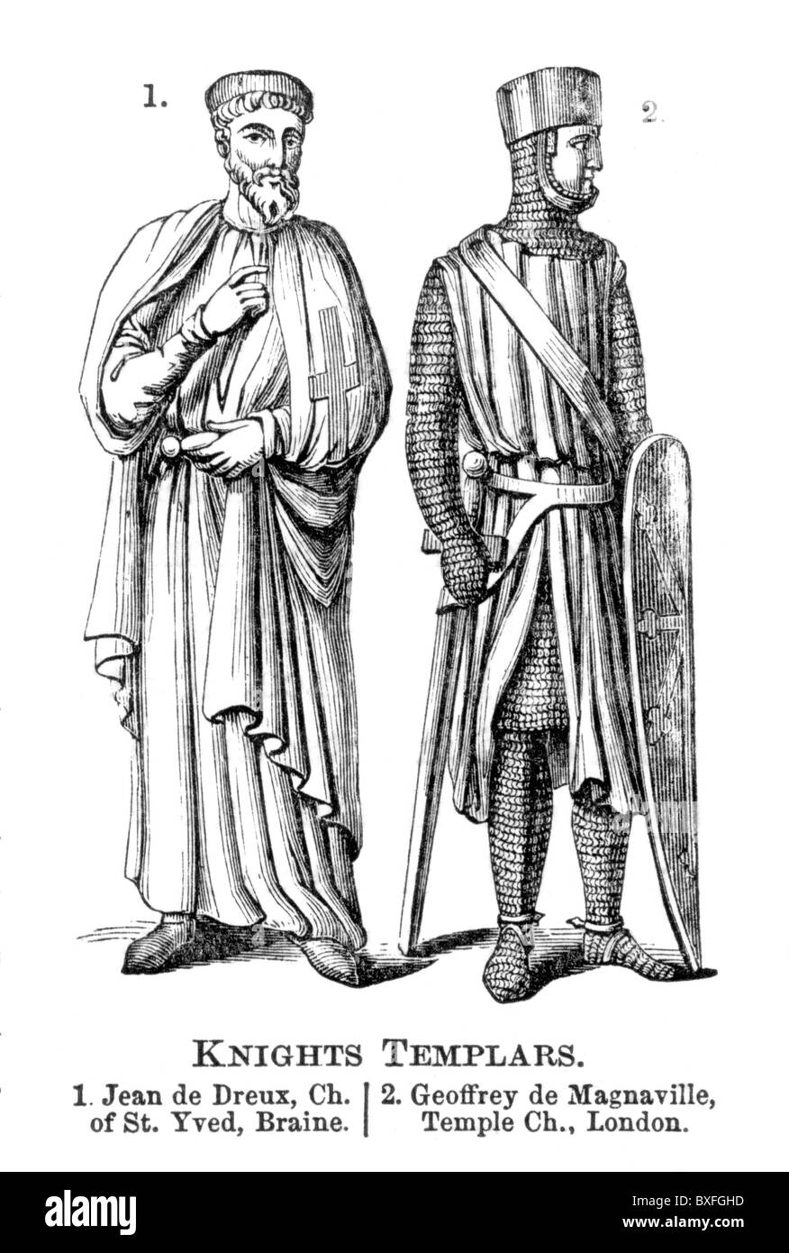 Knights Templar; Jean de Dreux (John Braine) and Geoffrey de Magnaville; 12th century; Black and White Illustration; - Stock Image