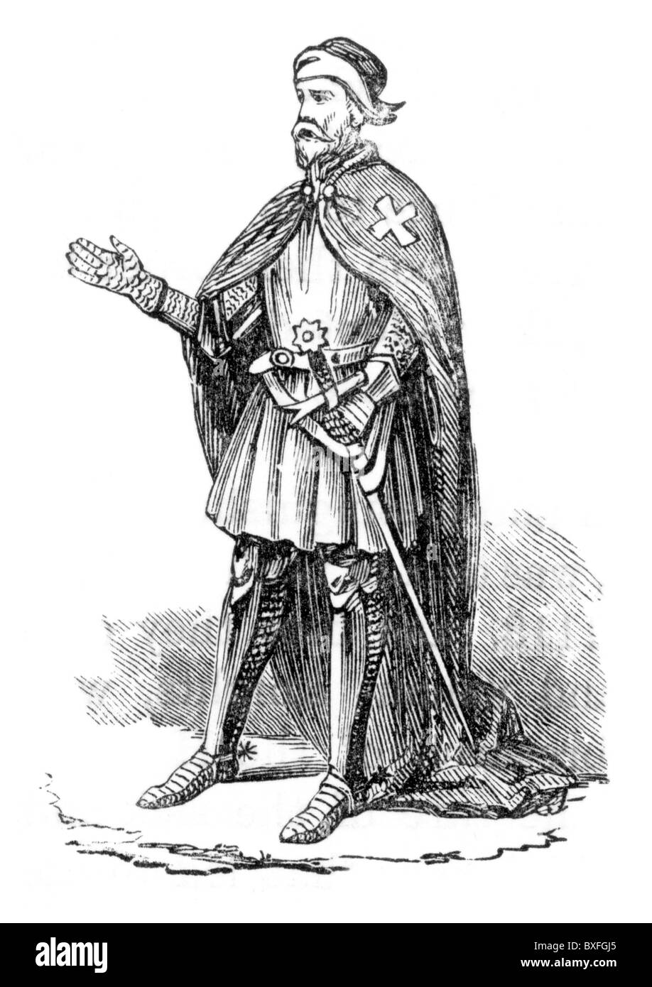 A Knights Hospitaler, 12th century; Black and White Illustration; - Stock Image
