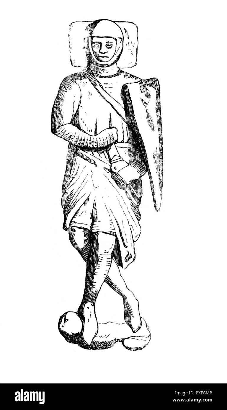 Effigy of William Mareschal or Marshal, Earl of Pembroke; 13th century; Black and White Illustration; - Stock Image