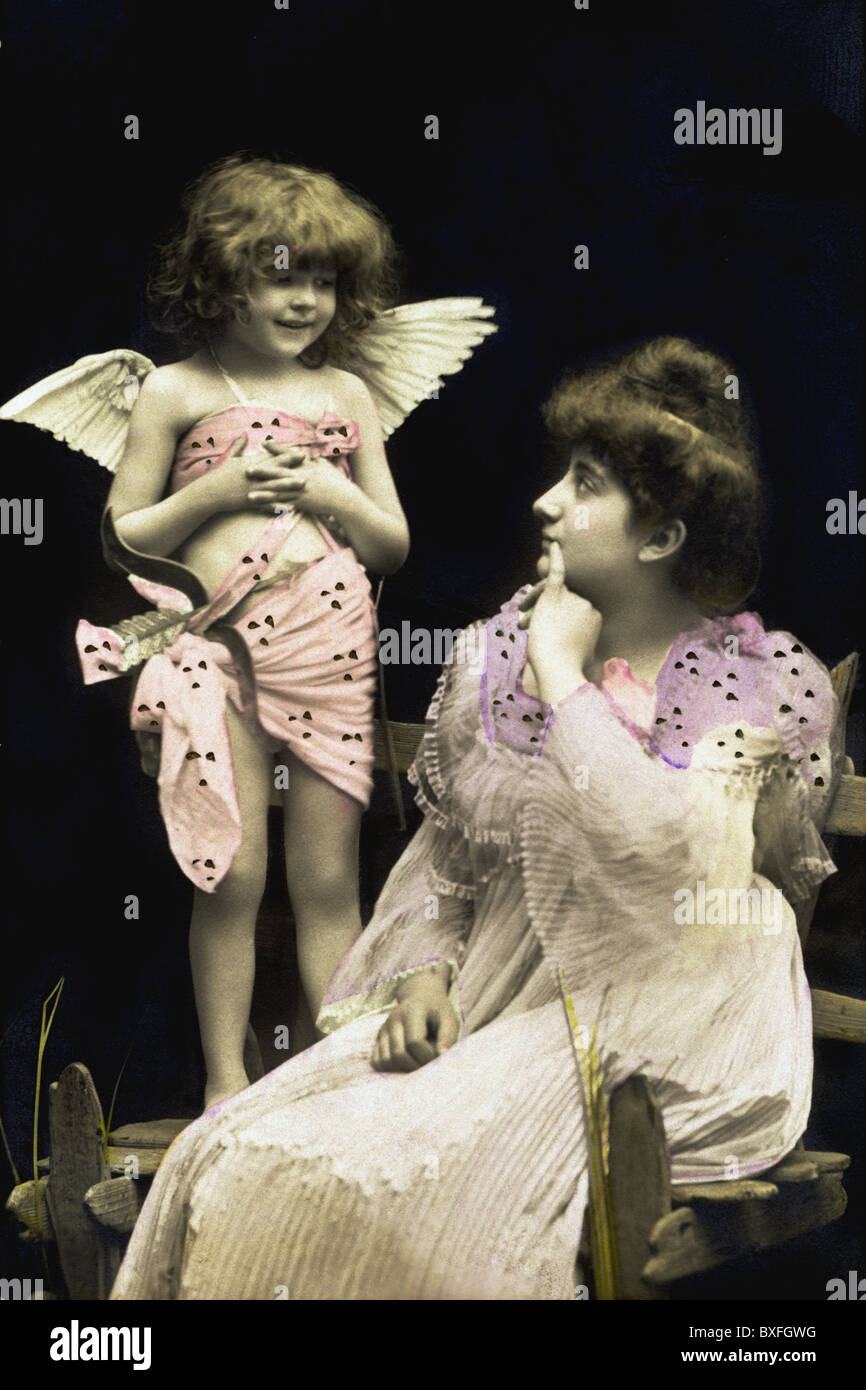 kitsch / souvenir, amor with woman, Germany, 1906, Additional-Rights-Clearences-NA - Stock Image