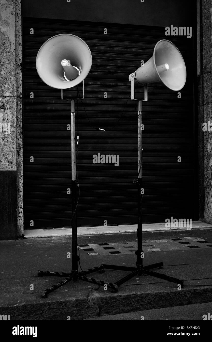 Speakers on the street - Stock Image