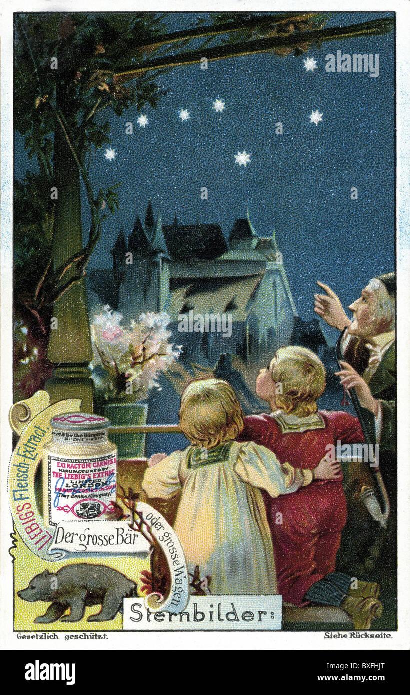 astronomy, constellations, grandfather showing his grandchildren the constellation Ursa Major (Great Bear), illustration, - Stock Image