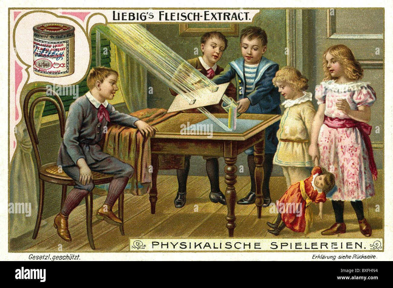 game, children playing and doing a physical experiment with light, lithograph, advertisement, collector's picture, - Stock Image