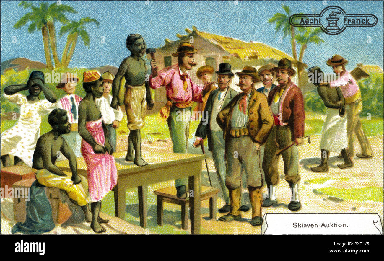 slavery, slave market in the United States of America, collection cards of Aecht Franck, Germany, circa 1905, historic, - Stock Image