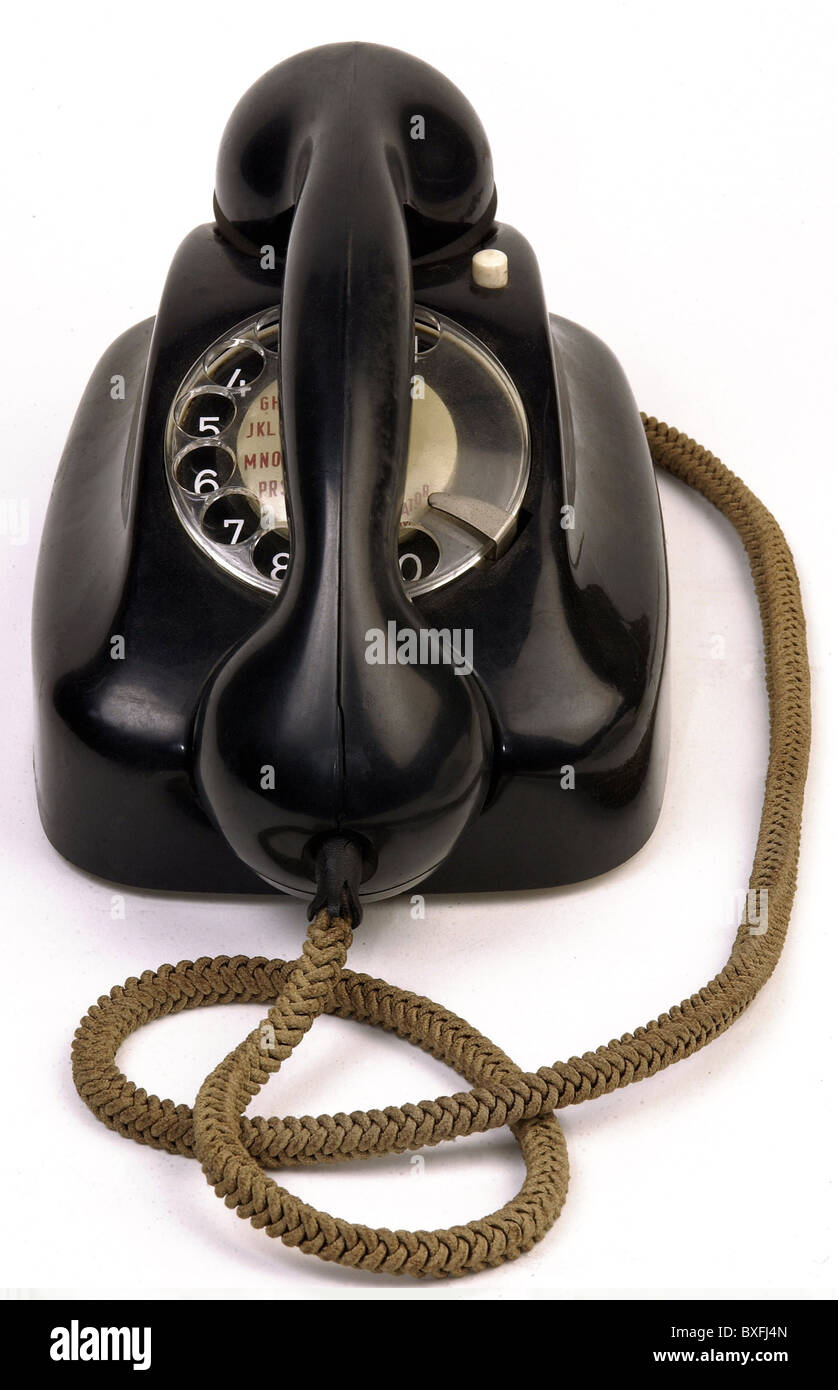 technics, telephone, Siemens, black, bakelite, Germany, circa 1950, Additional-Rights-Clearences-NA - Stock Image
