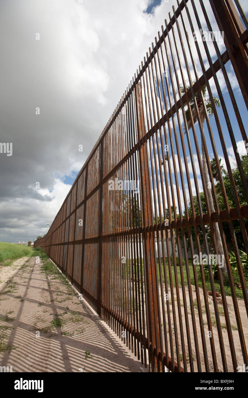 A section of the20-foot-tall concrete and steel border wall between the United States and Mexico in Brownsville, - Stock Image