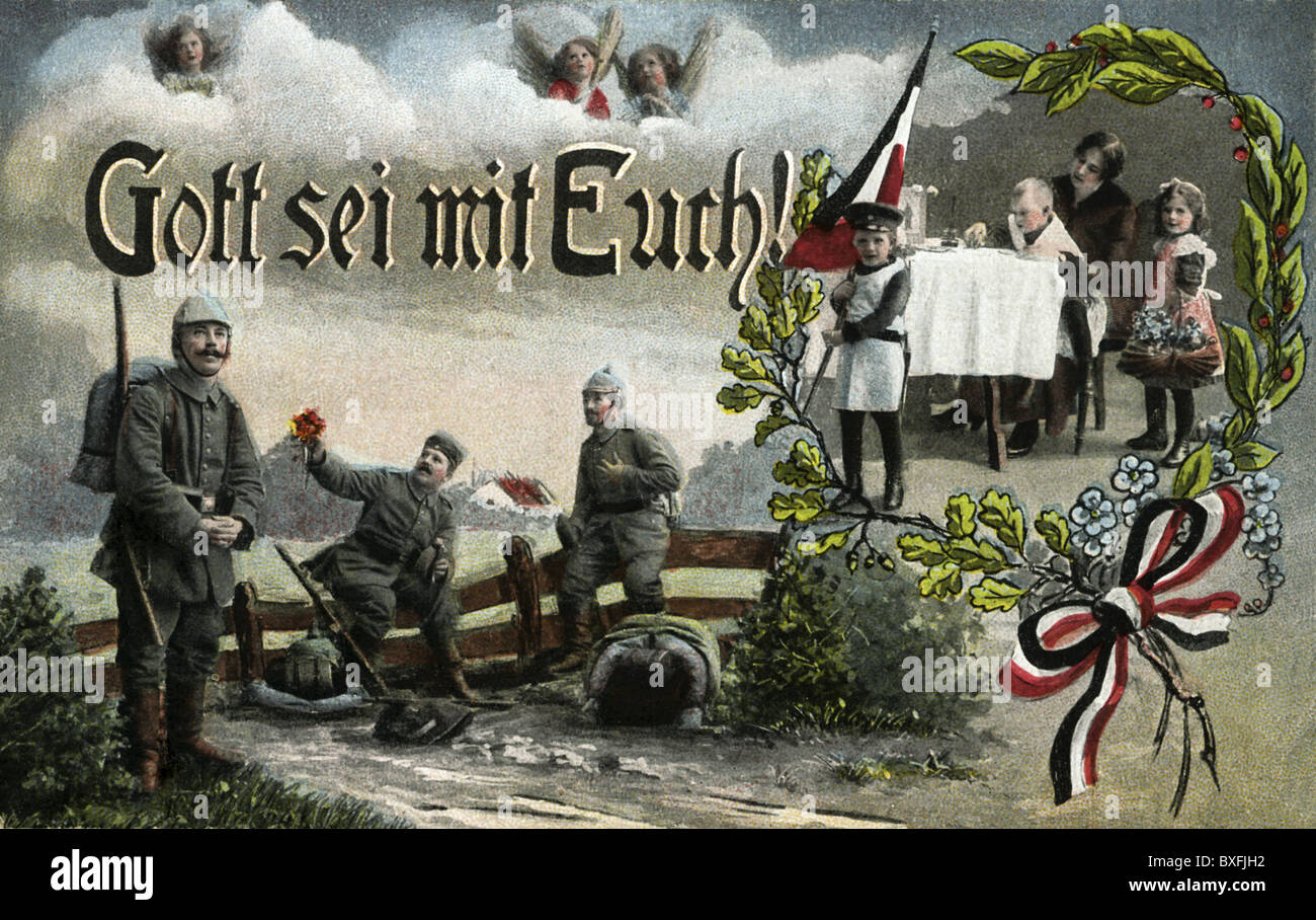 first world war (WWI), soldiers and their families at home, patrotic picture postcard, Germany, 1916, Additional Stock Photo