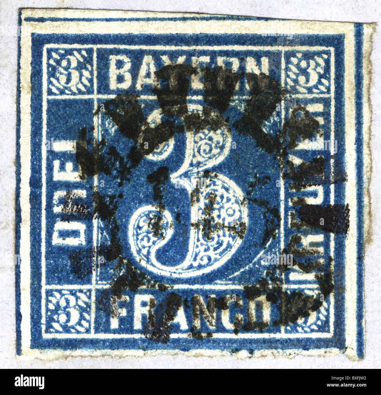 mail / post, stamps, sliced stamp, Bavaria, 1865, 1860s, 19th century, historic, historical, postage, Postage paid, - Stock Image